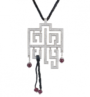 Cartier Pave Diamond Pendant Necklace with Ruby Tassels