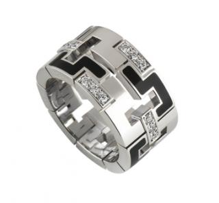Cartier Enamel & Diamond Ring in White Gold