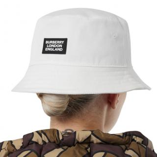 Burberry White Logo Appliqu� Cotton Bucket Hat
