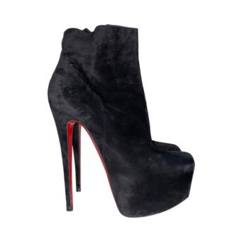 Christian Louboutin black suede daffodil ankle boots