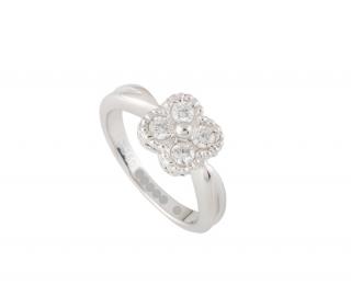 Van Cleef & Arpels White Gold Diamond Alhambra Ring