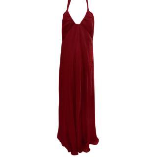 Max Mara Red Halterneck Gown