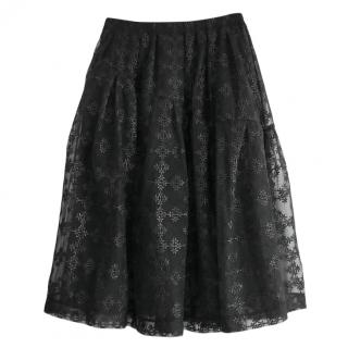 Simone Rocha black flocked tulle skirt