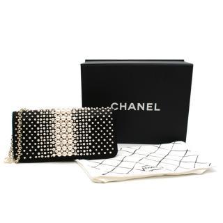 Chanel Black Satin Faux Pearl Embellished Shoulder Bag