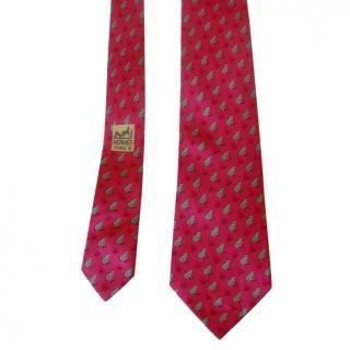 Hermes pink silk frog motif tie