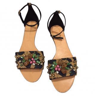 Dolce & Gabbana Crystal Embellished Ankle Strap Sandals