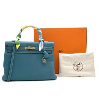 Hermes Togo Leather Blue Jean Kelly 35 PHW