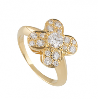 Van Cleef & Arpels Diamond Alhambra Ring in Gold