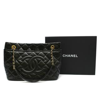 Chanel Black Quilted Caviar Leather Timeless Shopper Tote