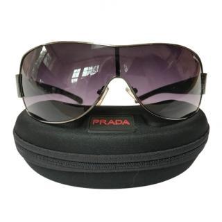 Prada Men's Shield Black Sunglasses