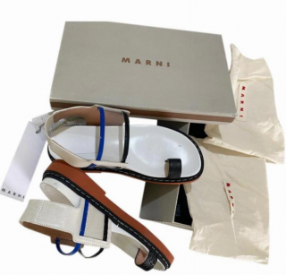 Marni Slingback Flat Sandals with Transparent Strap