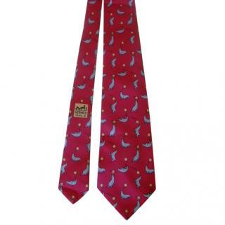 Hermes Raspberry Seal Print Silk Tie
