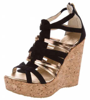 Jimmy Choo Black & Gold Peekaboo Wedge Sandals