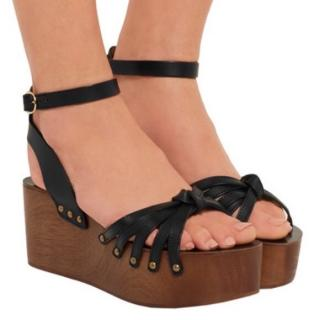 Isabel Marant Black Leather Sandals with Wooden PLatform Wedges
