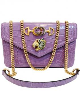 Gucci Lilac Crocodile Rajah Shoulder Bag