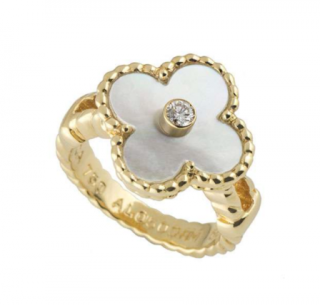 Van Cleef & Arpels Gold Diamond Alhambra Ring