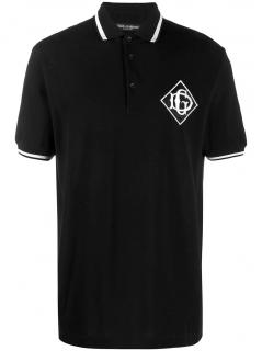 Dolce & Gabbana Black Crest Embroidered Polo Shirt