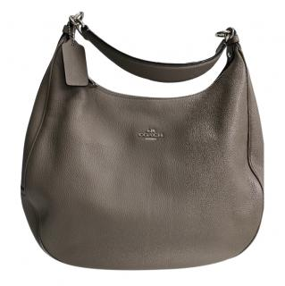 Coach taupe leather shoulder tote