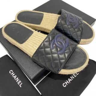 Chanel Black & Blue Quilted Espadrille Slides