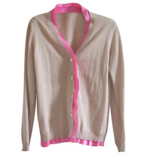 Miu Miu Beige Cardigan with Neon Pink Trim