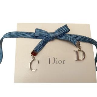 Dior Blue CD Bow Ribbon Choker