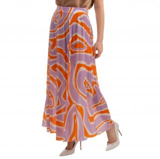 Emilio Pucci Crepe Geometric Print Pleated Skirt