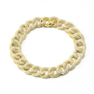 Idandi Micro Pave Crystal Gold Plated Chain Bracelet