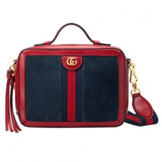 Gucci Navy Suede & Red Leather Small Ophidia Shoulder Bag
