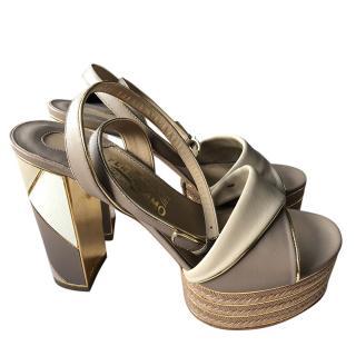 Salvatore Ferragamo Leather Colourblock Espadrille Sandals