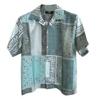Amiri Silk Deconstructed Bandana Shirt in Aqua