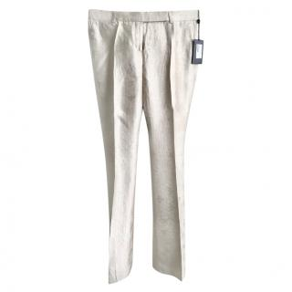 Alexander McQueen Silk Embroidered Trousers