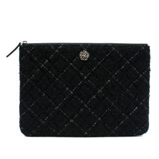Chanel Black Lambskin & Tweed O Case