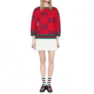 Gucci Red Ghost Print Jumper with Web Stripe Trim