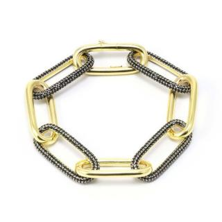 Idandi Gold Plated Black Crystal Embellished Chain Link Bracelet