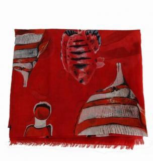 Dolce & Gabbana Red Tropical Print Scarf