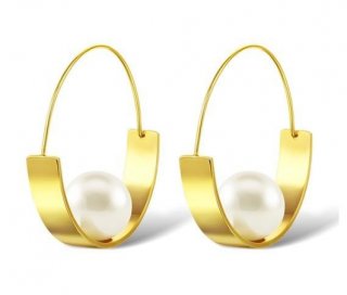 Salvatore Plata Gold Plated Pearl Sculptured Earrings