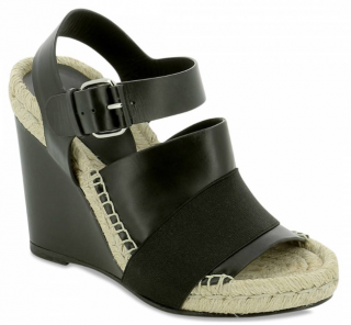 Balenciaga Black Leather And Raffia Wedges