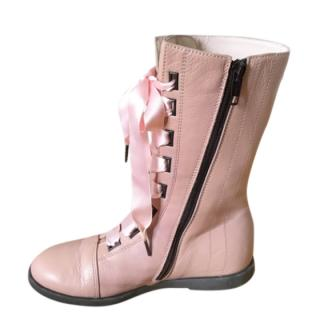 I Pinco Pallino pink lambs leather lace up boots