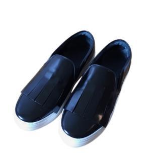 Celine black patent leather fringed Skater shoes