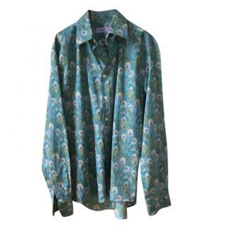 Liberty peacock  feather printed cotton shirt