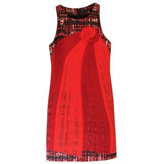 Bottega Veneta rare red and black tweed effect silk flower dress