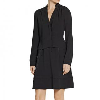 Proenza Schouler Black A-Line Satin Crepe Dress