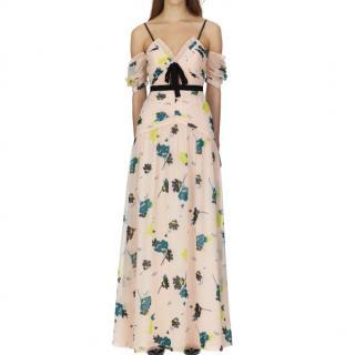 Self Portrait floral print silk maxi dress