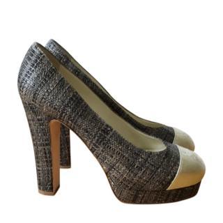 Chanel dark grey hessian pumps