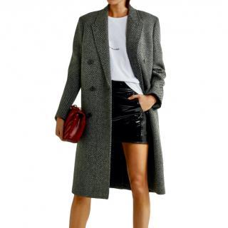 Saint Laurent herringbone bland wool coat