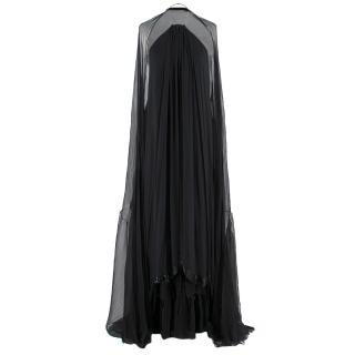 Hachi Black Halterneck Pleated-Chiffon Gown & Stole