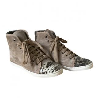 Lanvin Suede High Top Sneakers with Lizard Print Toe