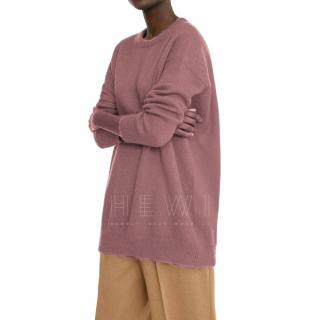 MaxMara pink crew neck mohair/wool jumper