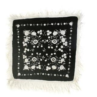 Bespoke Vintage Silk Crepe Heavily Embroidered Fringed Shawl
