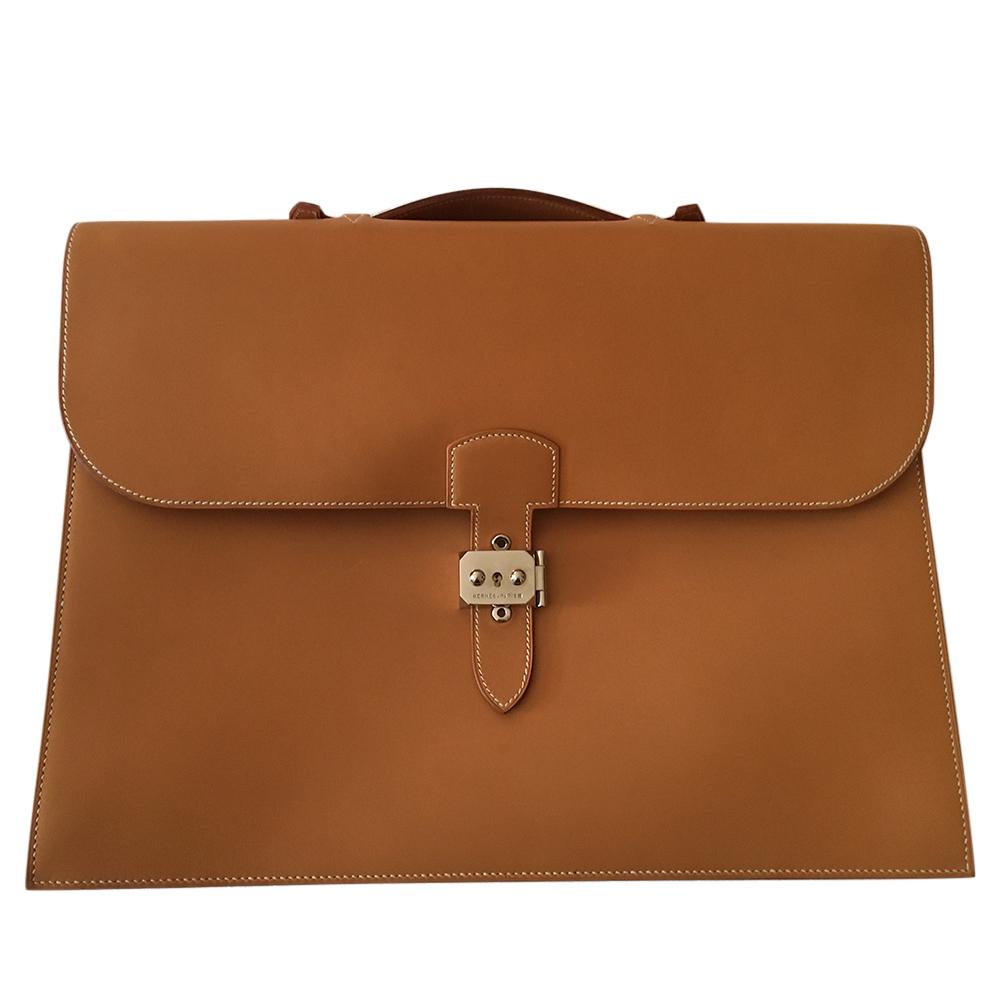 Hermes Camel Vintage Leather Briefcase